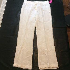 Ellen Tracy white linen elastic waist trousers